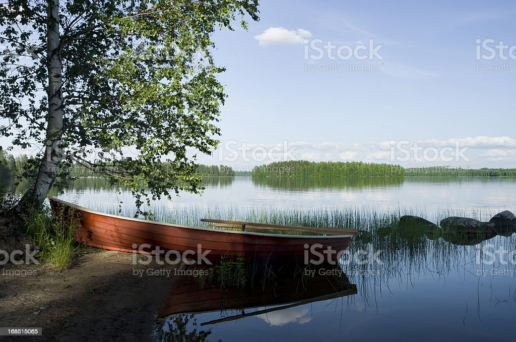 Finland Scandinavia lake rowboat royalty-free stock photo