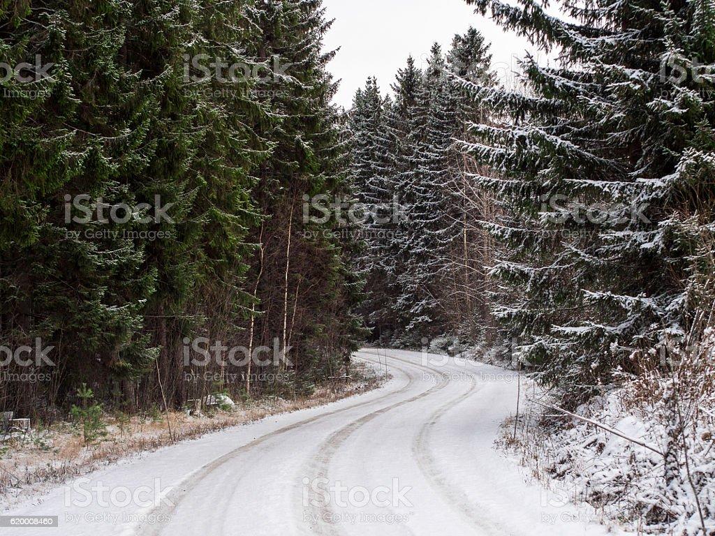 finland snowy road zbiór zdjęć royalty-free