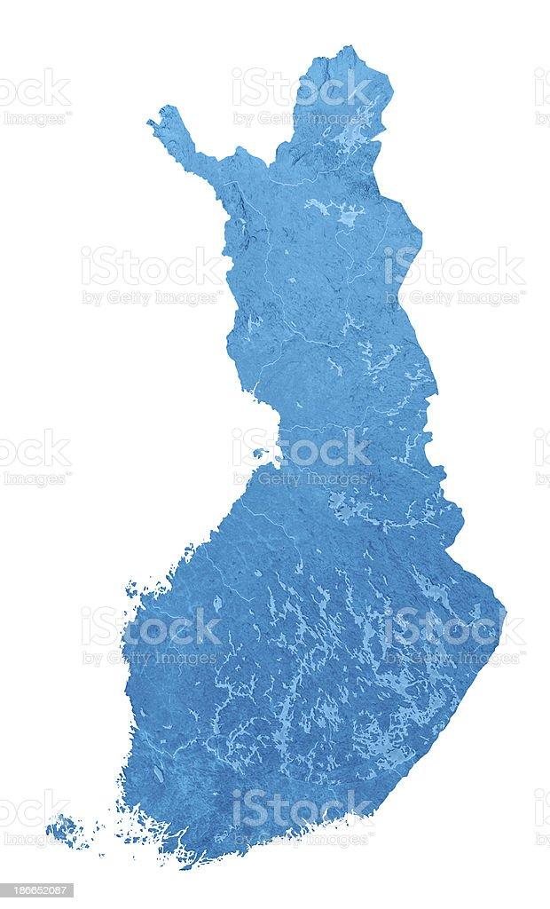 Finnland Topographic Karte Isoliert – Foto