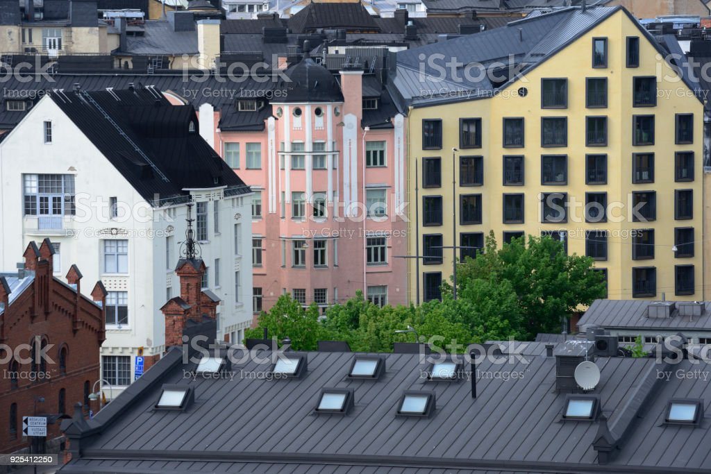 Finland, view of Helsinki, roofs, attics, windows stock photo