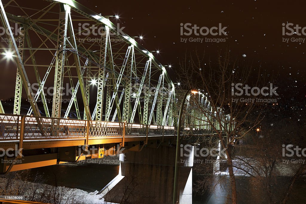 Finlay Bridge on a Snowy Night stock photo