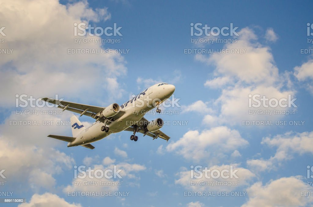 Finnair Airlines Airbus A321 approaching Helsinki airport stock photo
