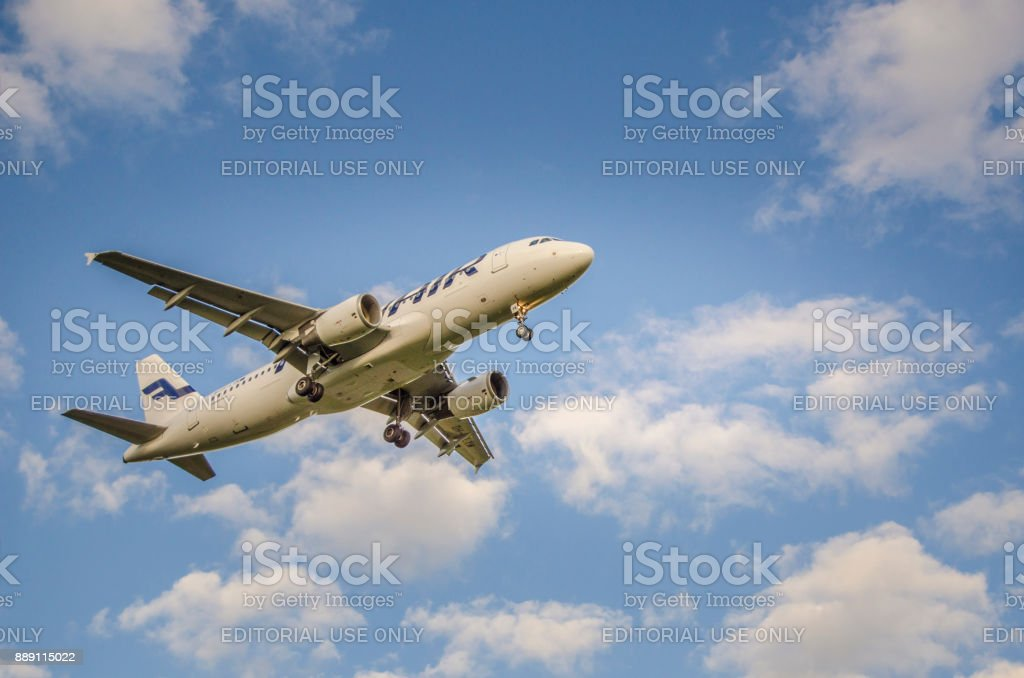 Finnair Airlines Airbus A321 landing Helsinki airport stock photo