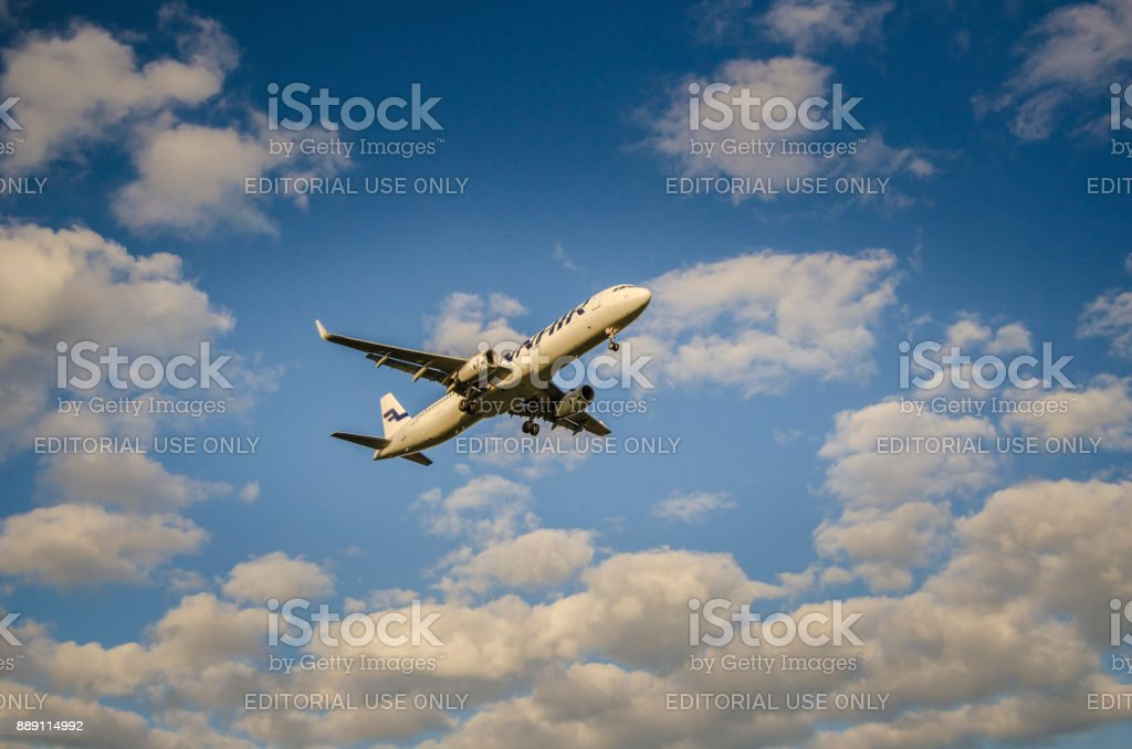 Finnair Airlines Airbus A330 landing Helsinki airport stock photo