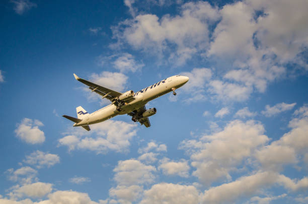 Finnair Airlines Airbus A330 landing stock photo