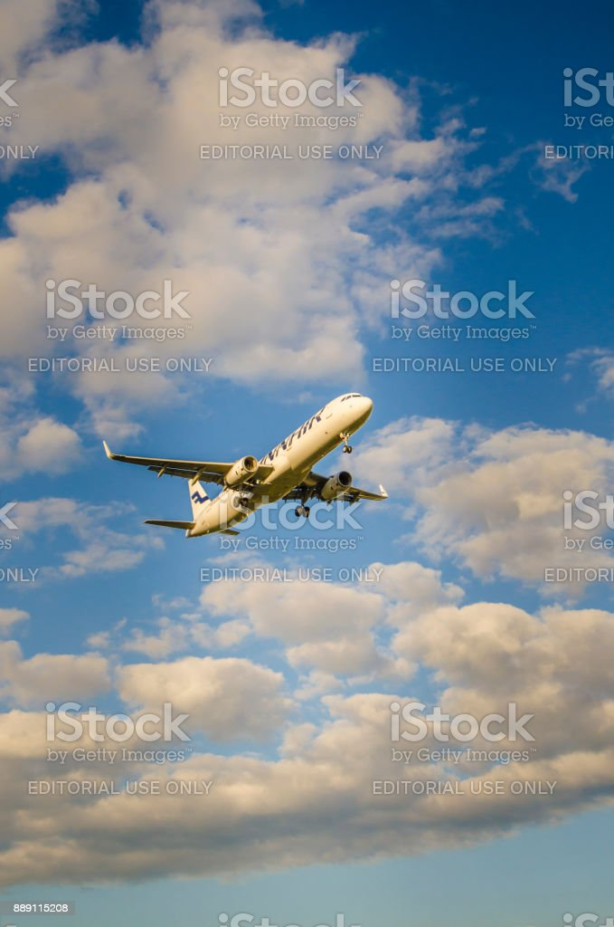 Finnair Airlines Airbus A330 touching down Helsinki airport stock photo