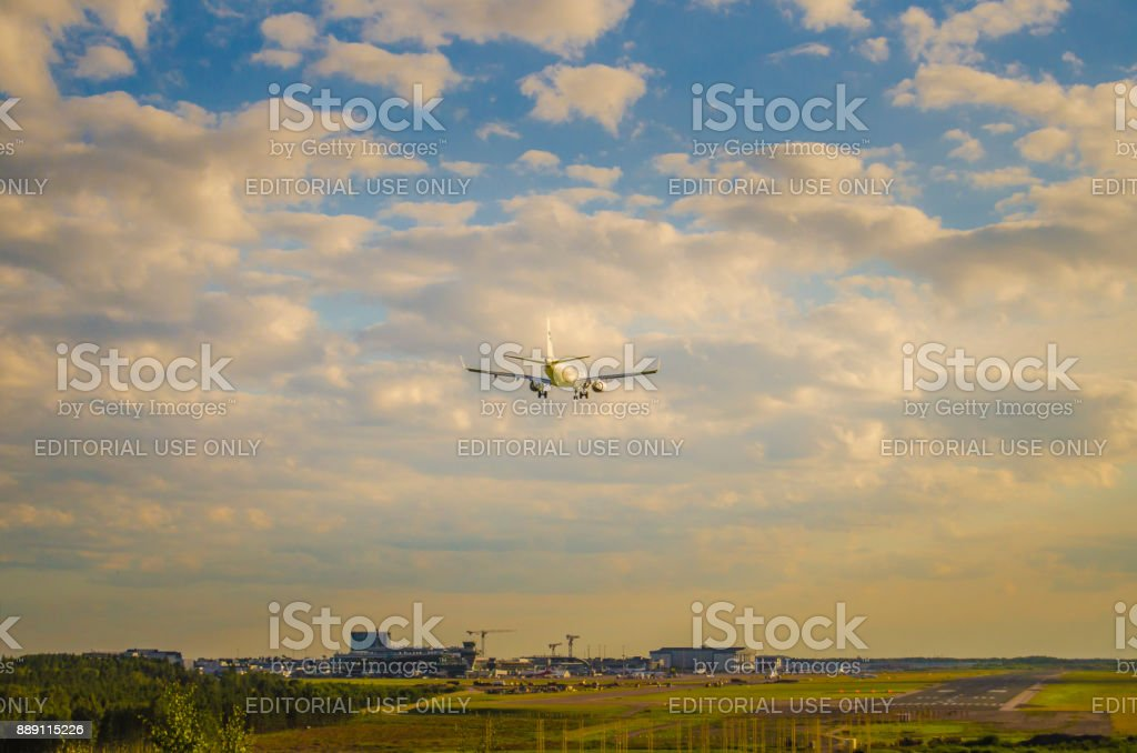 Finnair Airlines Airbus A330 touching down Helsinki - Vantaa airport stock photo