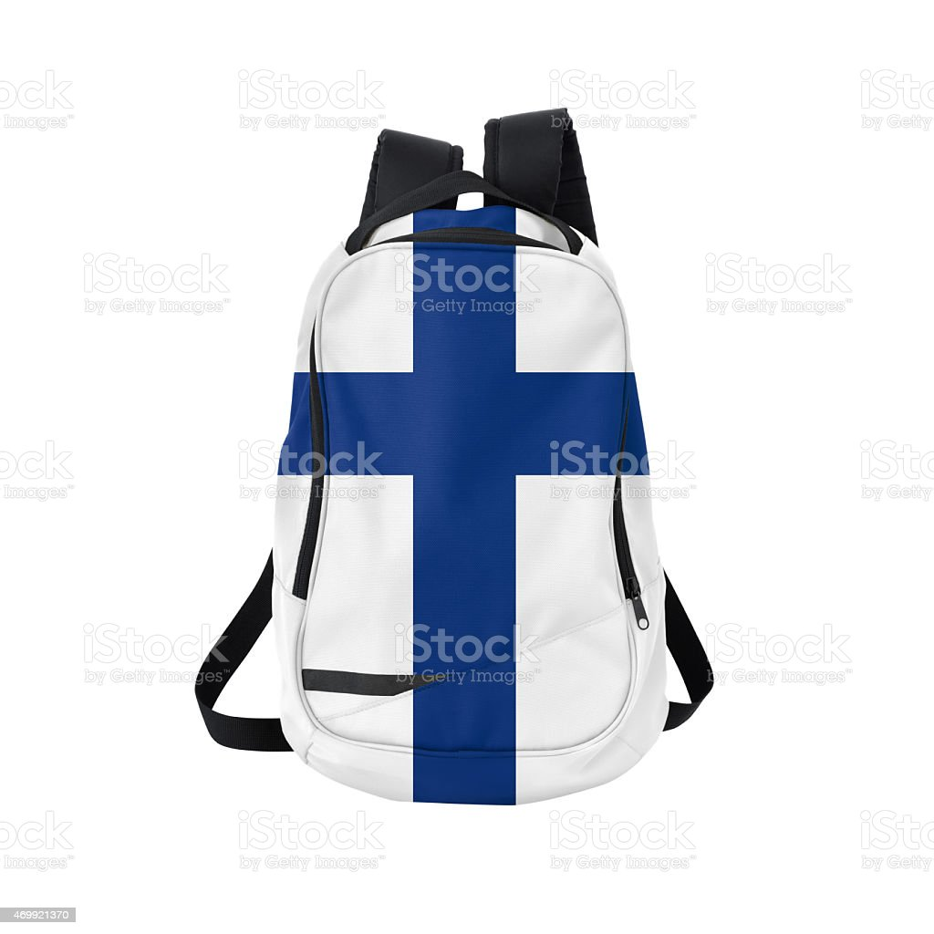 Finnish flag backpack isolated on white w/ path stock photo