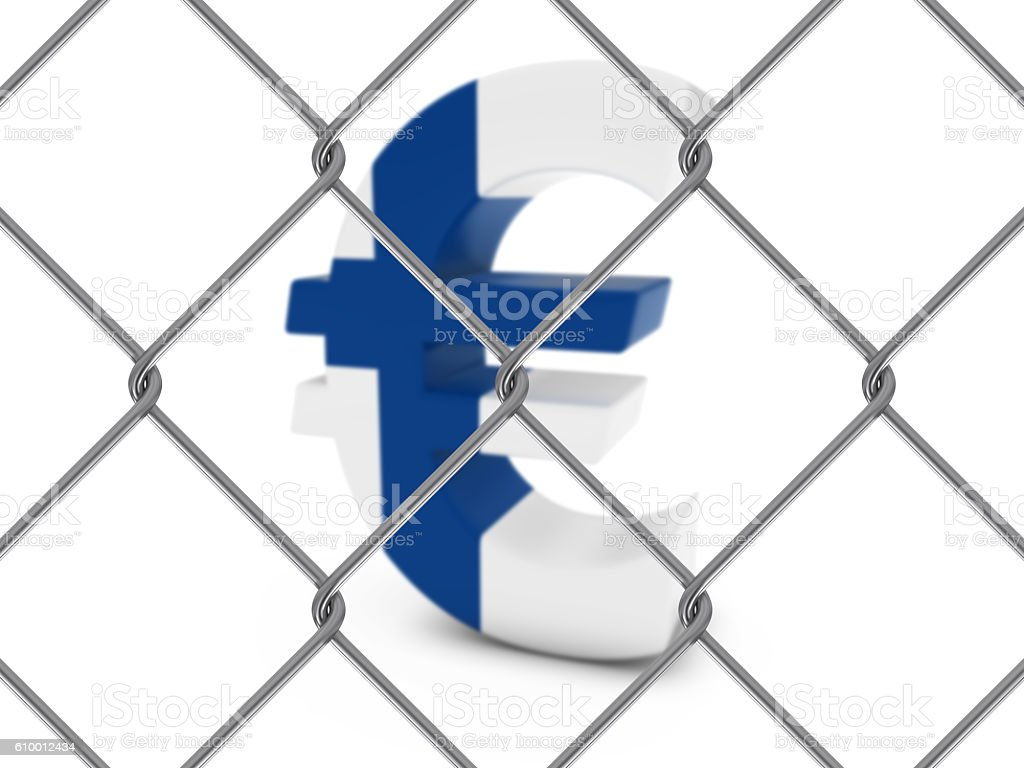 Finnish Flag Euro Symbol Behind Chain Link Fence stock photo