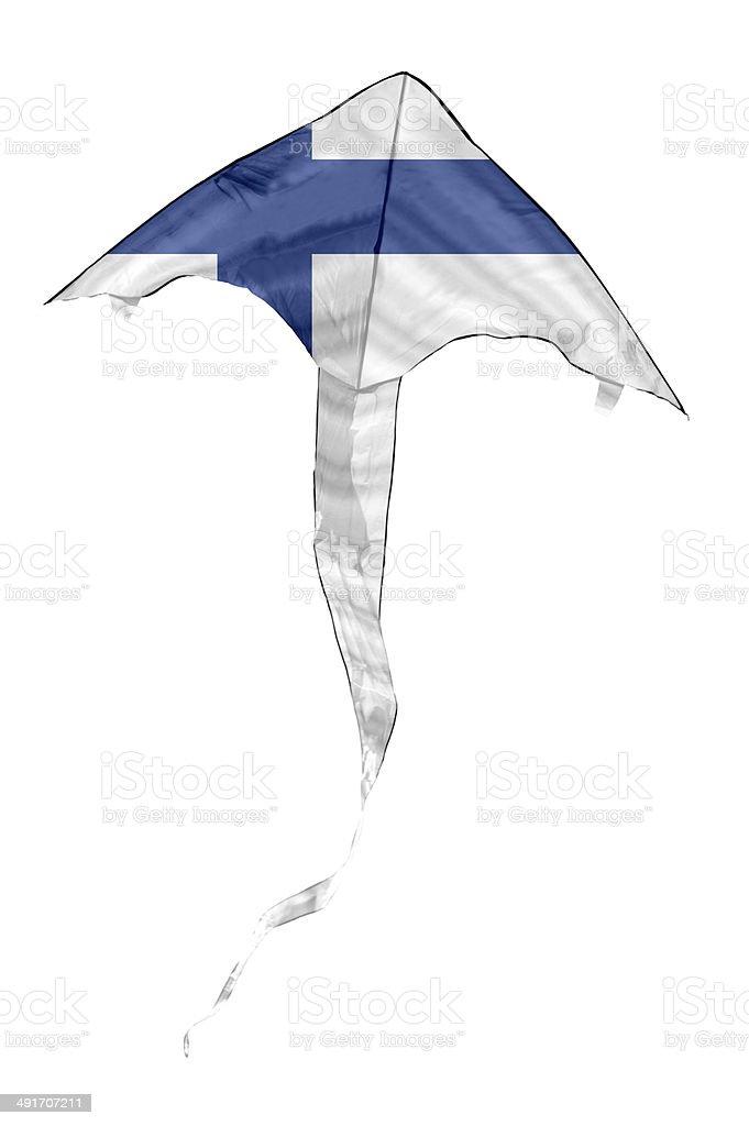 Finnish Flag Kite stock photo