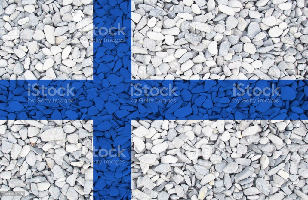 Finnish flag painted on stones in nature royalty-free stock photo