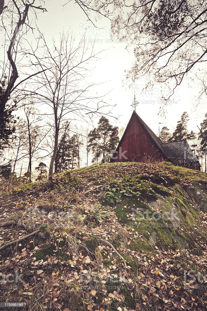 Finnish  lutheran wooden chapel stock photo