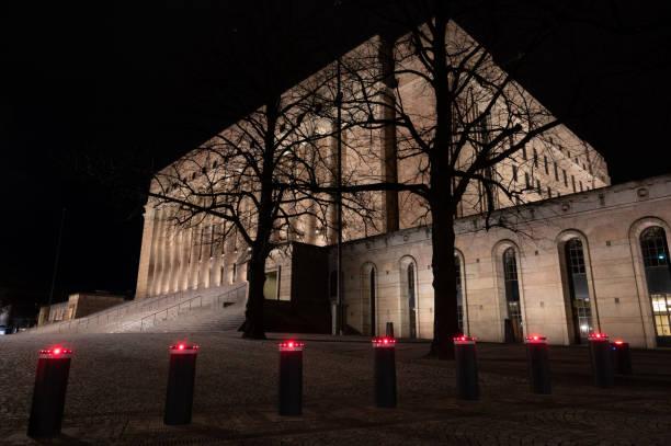 Finnish parliament building stock photo