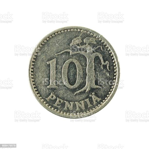 10 finnish penni coin (1986) obverse isolated on white background
