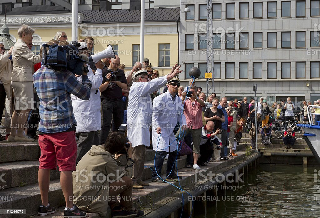 Finnish Unscientific Society throwing Cold Stone stock photo