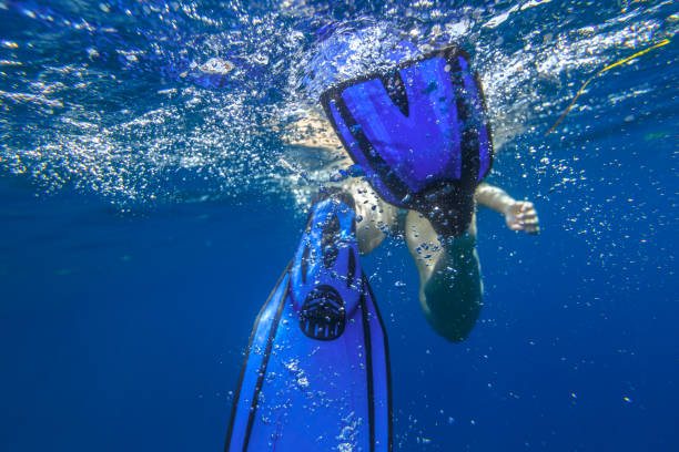 Fins snorkeler under water Closeup of blue fins of underwater female apnea while swimming. Bubbles of water. View from behind snorkeler woman in underwater activity. Watersport and leisure concept. Fins slamming into sea. diving flipper stock pictures, royalty-free photos & images