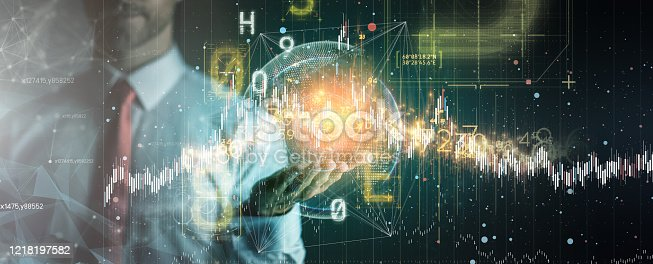 875503222 istock photo fintech business technology virtual diagram with Ai big data and automation stock Marker investor working new start up project. 1218197582