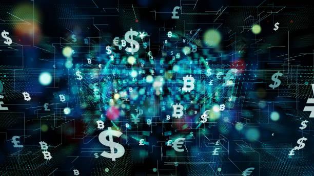 fintech (finans teknolojileri) kavramı. - kripto para birimi stok fotoğraflar ve resimler