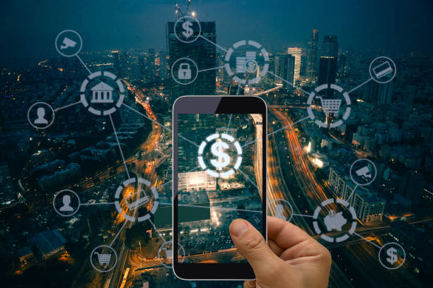 Fintech electronic banking mobile network technology stock photo