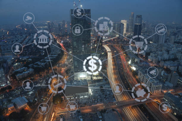 Fintech electronic banking network technology stock photo