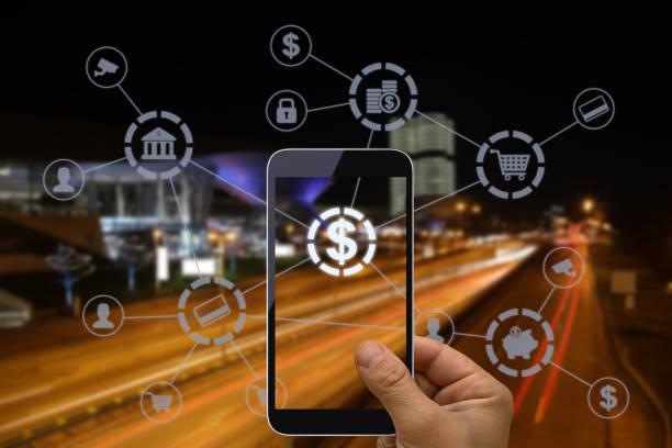 fintech electronic banking netzwerktechnik - online banking stock-fotos und bilder