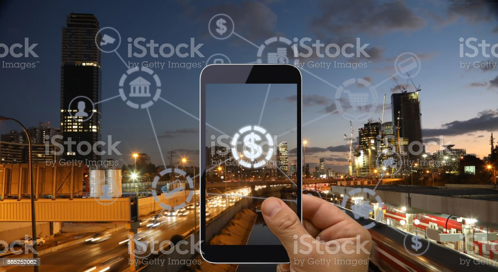 Fintech electronic banking network technology stock photo