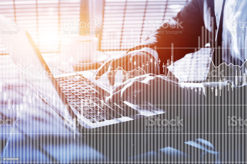 fintech, financial charts and graphics of interest rates stock photo