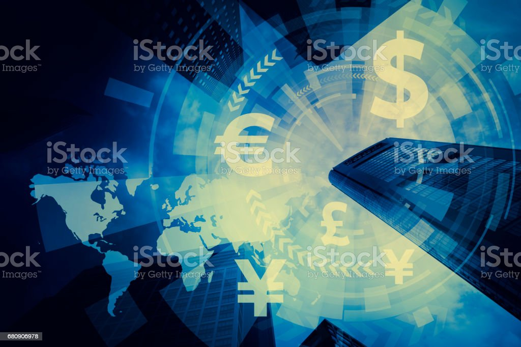 FinTech, financial technology and world economy, abstract image visual foto stock royalty-free