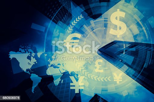 istock FinTech, financial technology and world economy, abstract image visual 680906978
