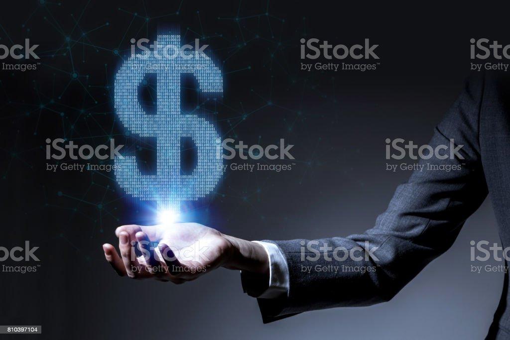 FinTech, financial technology concept, Dollar sign made with digital data stock photo