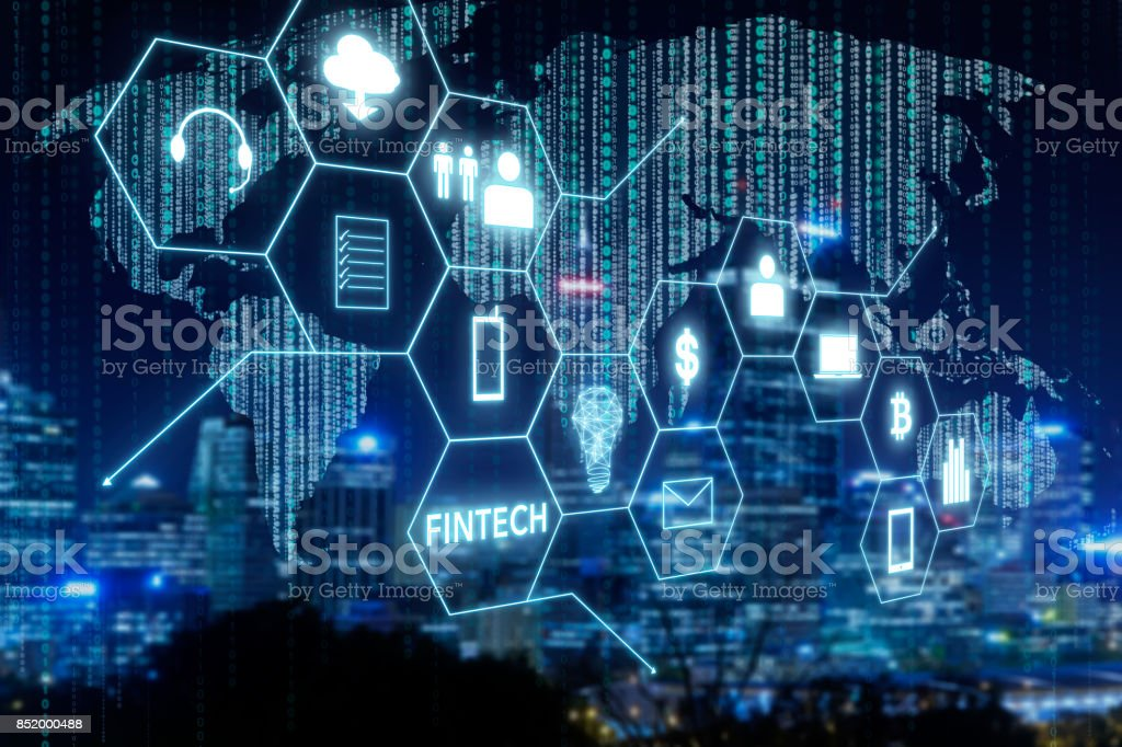 Fintech icon and internet of things with matrix code background , Investment and financial internet technology concept. stock photo