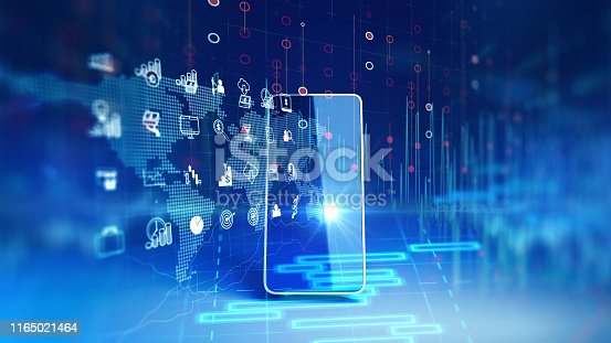istock fintech icon and technology element on mobile phone 3d rendering 1165021464