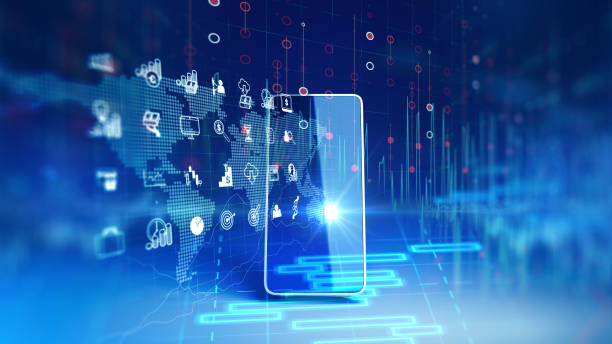 fintech icon and technology element on mobile phone 3d rendering stock photo