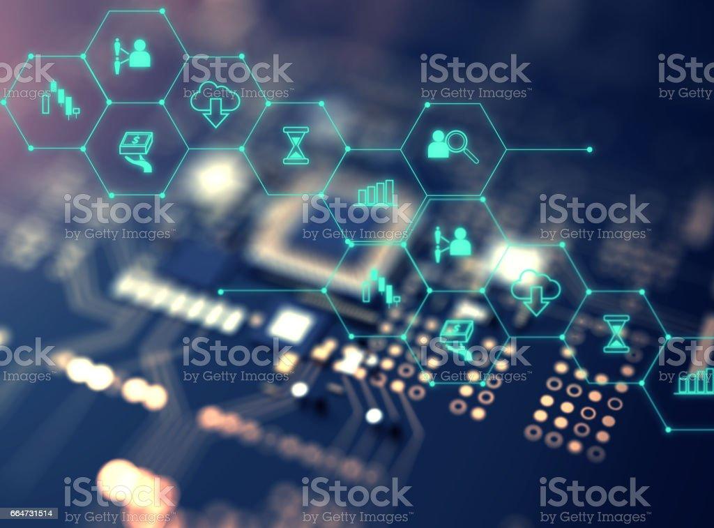 FinTech-Symbol auf abstrakte Finanztechnologie Hintergrund. - Lizenzfrei Abstrakt Stock-Foto