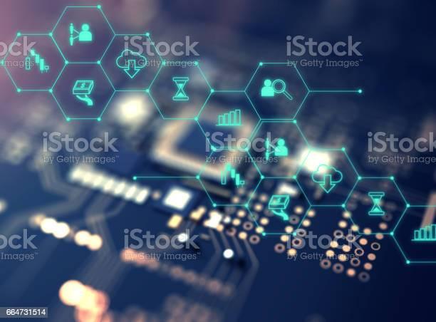 Fintechsymbol Auf Abstrakte Finanztechnologie Hintergrund Stockfoto und mehr Bilder von Abstrakt