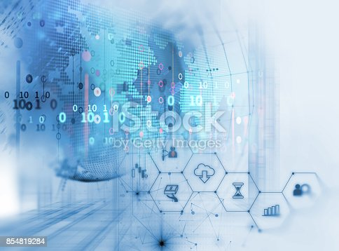 istock fintech icon  on abstract financial technology background . 854819284