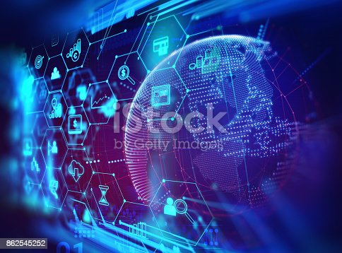 istock fintech icon  on abstract financial technology background . 862545252