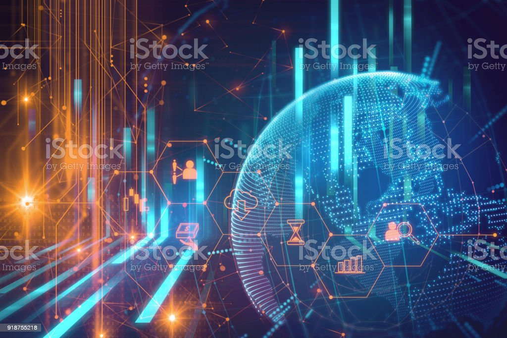 fintech icon  on abstract financial technology background . - foto stock