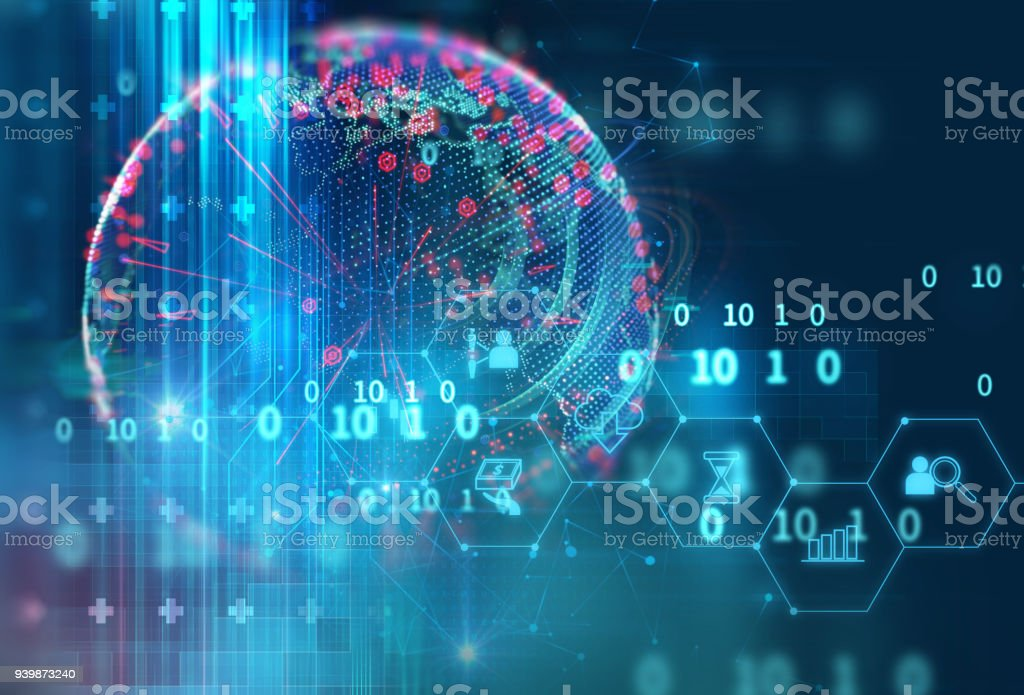 fintech icon  on abstract financial technology background . stock photo