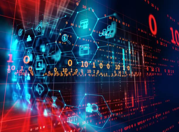 FinTech-Symbol auf abstrakte Finanztechnologie Hintergrund. – Foto
