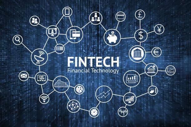 Concepto de Internet de FinTech. texto y los iconos de la tecnología financiera inversión con matriz azul codifican fondo - foto de stock