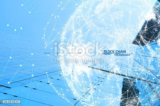 istock Fintech technology and Blockchain network concept , Distributed ledger technology connect wireframe and cloud globe furnished by NASA with blue building background and text. 678152428