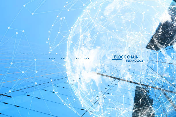 Fintech technology and Blockchain network concept , Distributed ledger technology connect wireframe and cloud globe furnished by NASA with blue building background and text. stock photo