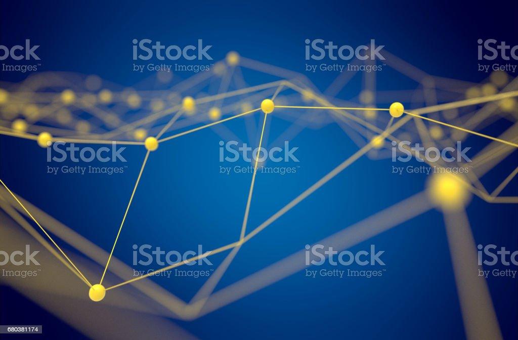FinTech tecnología y concepto de red de Blockchain, distribuido contabilidad tecnología, átomo de conexión distribuidos amarillo y texto con fondo azul, render 3d - foto de stock
