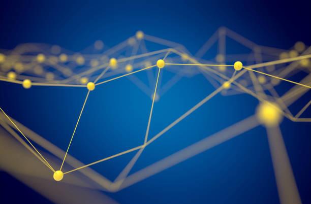 fintech technology et blockchain concept de réseau, technologie livre distribué, atome de connexion distribués jaune et texte avec fond bleu, rendu 3d - crypto monnaie photos et images de collection