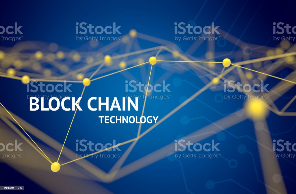 Fintech technology and Blockchain network concept , Distributed ledger technology , Yellow Distributed connection atom and text with blue background , 3d rendering stock photo
