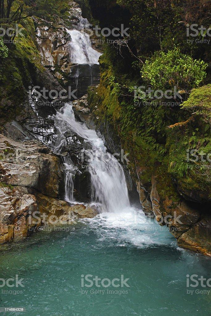 Fiordland waterfall, New Zealand (XXXL) royalty-free stock photo