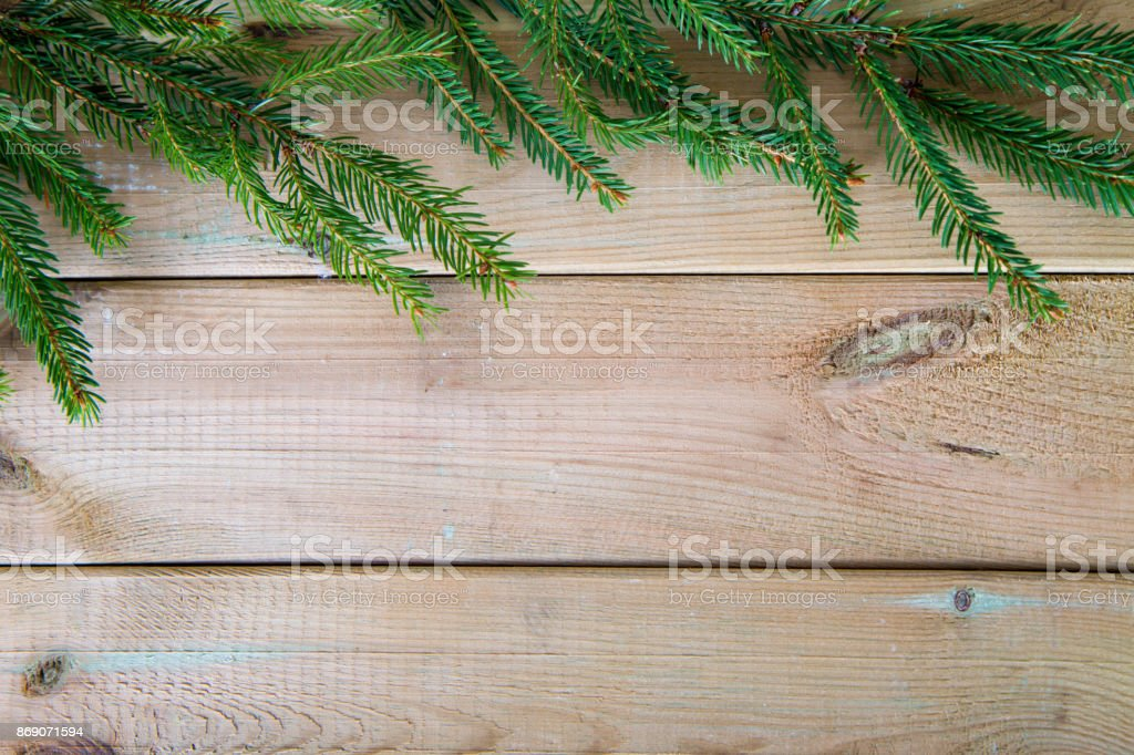 Fir branch on wooden background stock photo