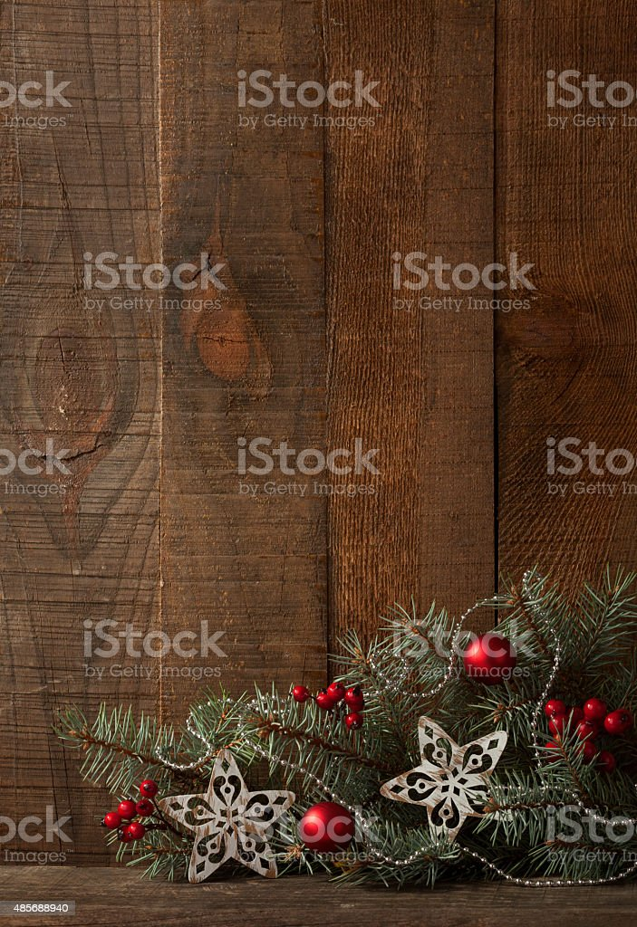 Fir branch with Christmas decoration stock photo