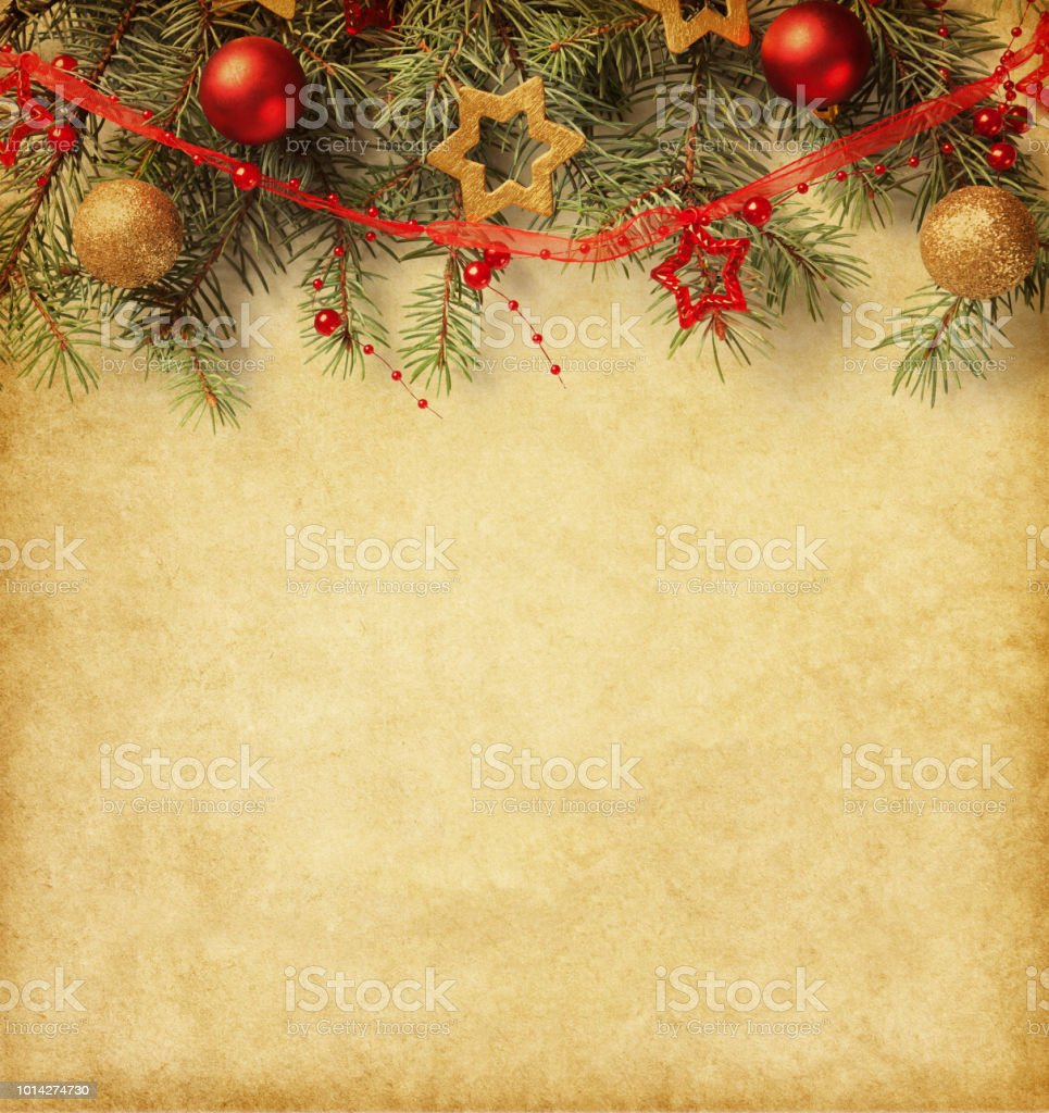 Fir Branch With Christmas Decorations On Old Paper Stock